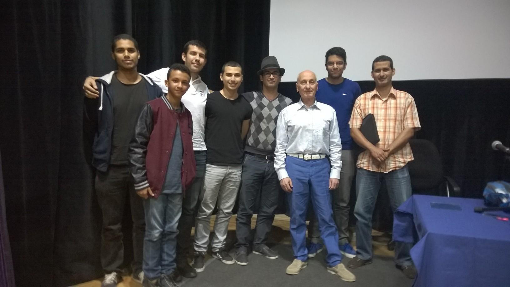 Les étudiants de Studio M Casablanca (section Cinéma d'animation) avec Michel Ocelot.